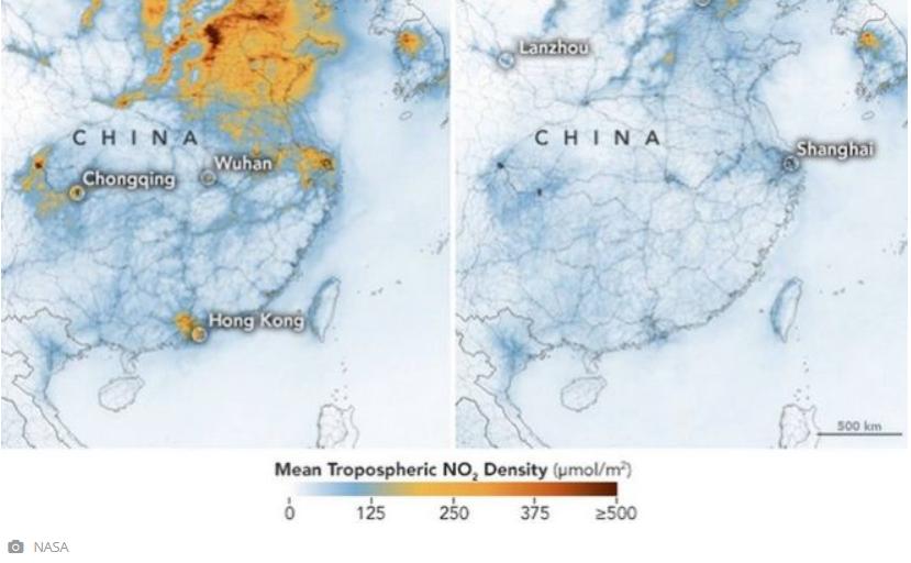 Μειώθηκε δραματικά η ατμοσφαιρική ρύπανση στην Κίνα, σύμφωνα με τη NASA – εικόνες