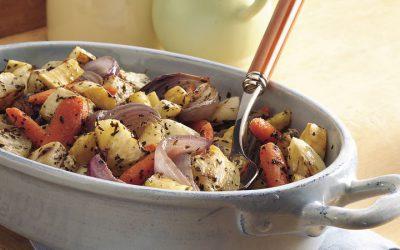 Ψητά λαχανικά με βότανα που συνοδεύουν όλα τα κρέατα